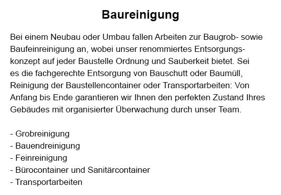 Baureinigung für 72655 Altdorf